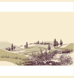 Hills landscape hand drawing travel or tourism vector