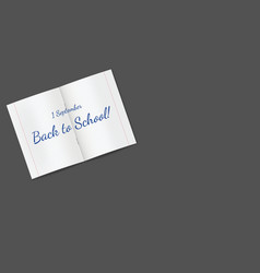horizontal black banner with school notebook vector image