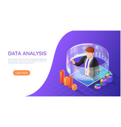 isometric web banner businessman on tablet vector image