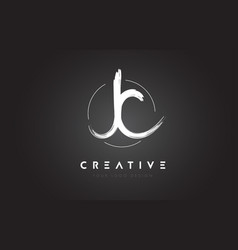 jc brush letter logo design artistic handwritten vector image