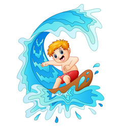 kids play surfing with big wave vector image