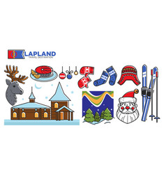 Lapland travel destination promotional poster with vector