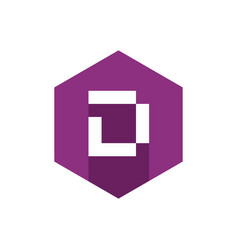 Letter d icon with flat purple hexagon vector