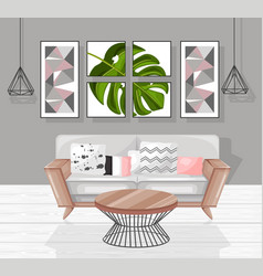 living room interior design modern vector image