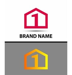 Logo number one 1 icon template with house icon vector image