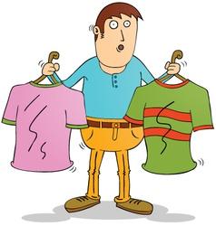Man Choosing clothers vector