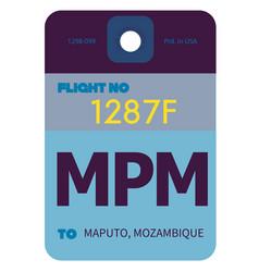 maputo airport luggage tag vector image