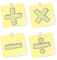 Mathematics signs sketches vector