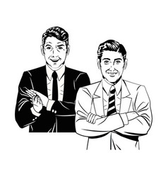 men comic style black and white vector image