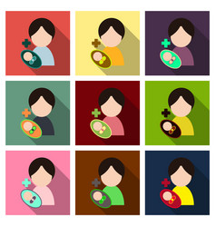 Mother and her baby isolated objects vector