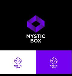 Mystic box logo impossible shape online shop vector