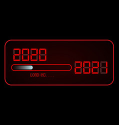 new year red digital 2020 with loading to up 2021 vector image