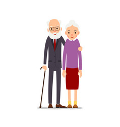old couple two aged people stand elderly man vector image