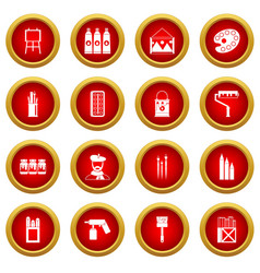 Painting icon red circle set vector