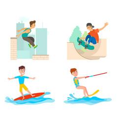 Parkour and skateboarding surfing on board set vector