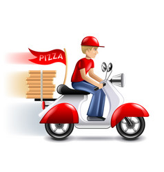 pizza delivery courier on scooter isolated vector image