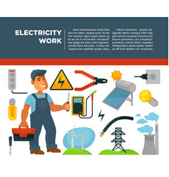 Professional electrician services promotional vector