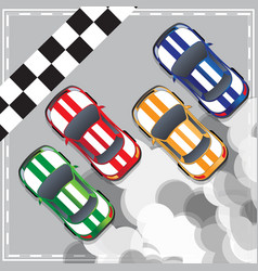 racing cars at finish line vector image