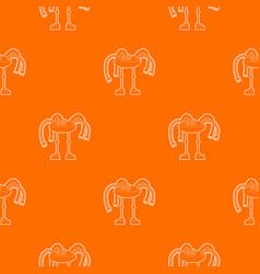 Robot octopus pattern orange vector