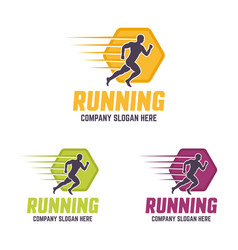 running man silhouette colourful logo vector image