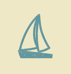 sailboat icon in grunge style vector image
