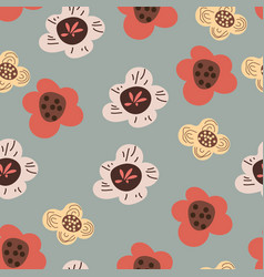 Seamless pattern with abstract color flowers vector