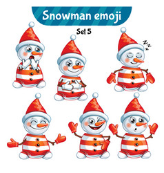 Set of cute snowman characters set 5 vector