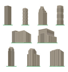 set of nine modern high-rise building vector image