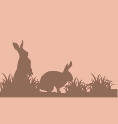 Silhouette of easter bunny on brown backgrounds vector