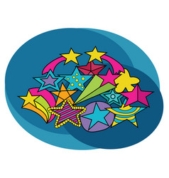 stars design set cartoon free hand draw doodle vector image