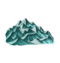 Summit of mountain landscape ink color vector