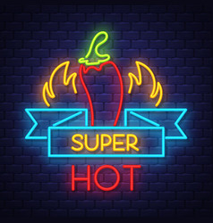 super hot pepper- neon sign on brick wall vector image
