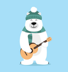 teddy bear holding guitar vector image