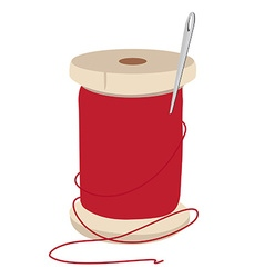 Thread spool and needle vector image