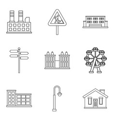 town building icons set outline style vector image
