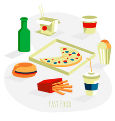 Traditional fast food dishes set vector