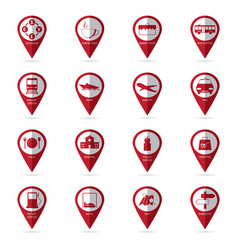 travel icons with location icon vector image