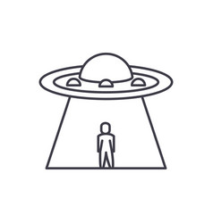 ufo line icon concept ufo linear vector image