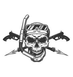 Vintage diver skull in scuba mask vector