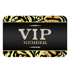 VIP member card with golden floral pattern VIP vector