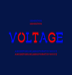 Voltage letters and numbers blue and red electric vector