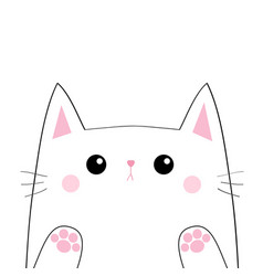 White cat head face silhouette black contour paw vector