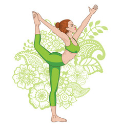 women silhouette lord of the dance yoga pose vector image