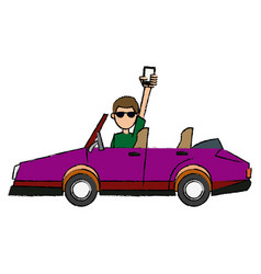 Young man holding smartphone driving sport car vector