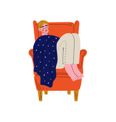 young man sleeping in armchair under blanket guy vector image