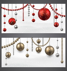 Banners with christmas baubles vector image vector image