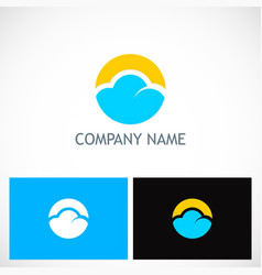 cloud round technology logo vector image vector image