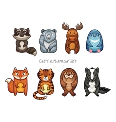 Cute animal set with cartoon characters vector image vector image