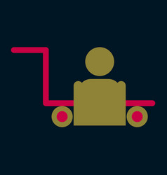 Icon in flat design for airport baggage porter vector