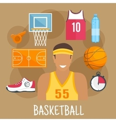 Basketball guard flat icon for ball sports design vector image